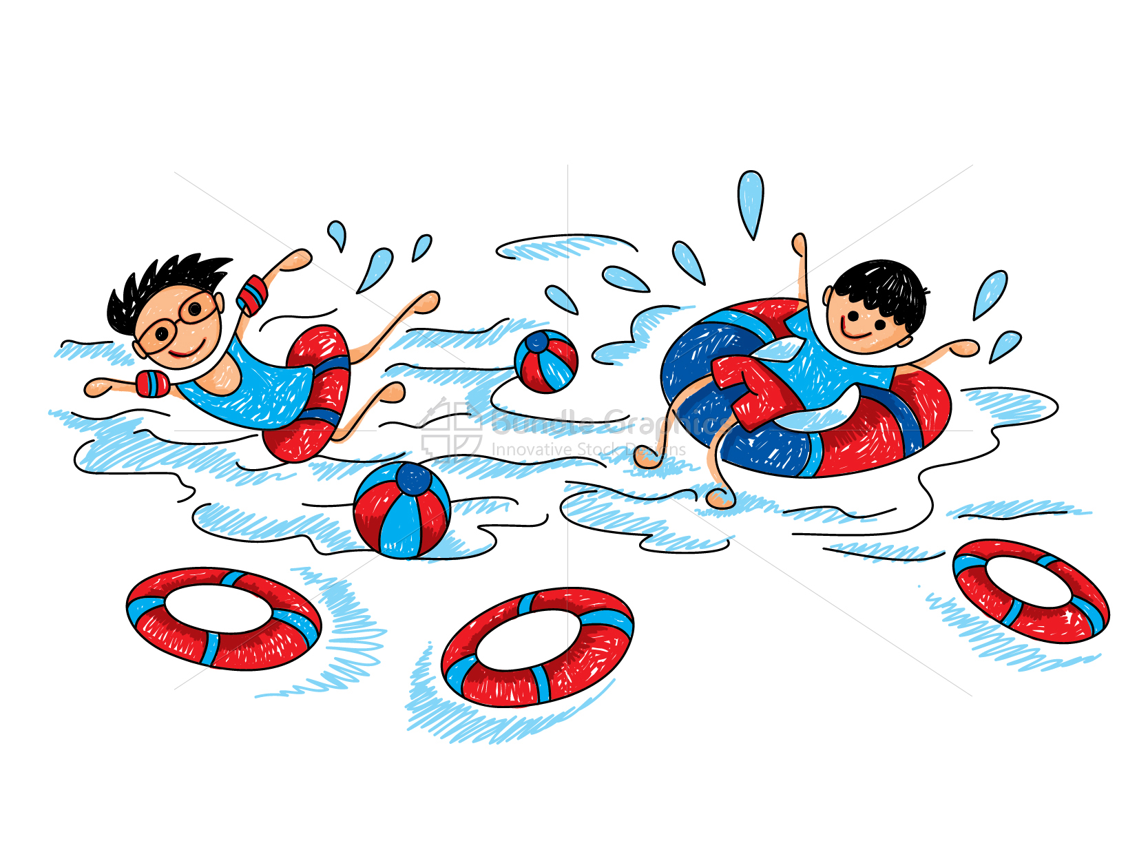 Kids Swimming Graphical Illustration example image 1