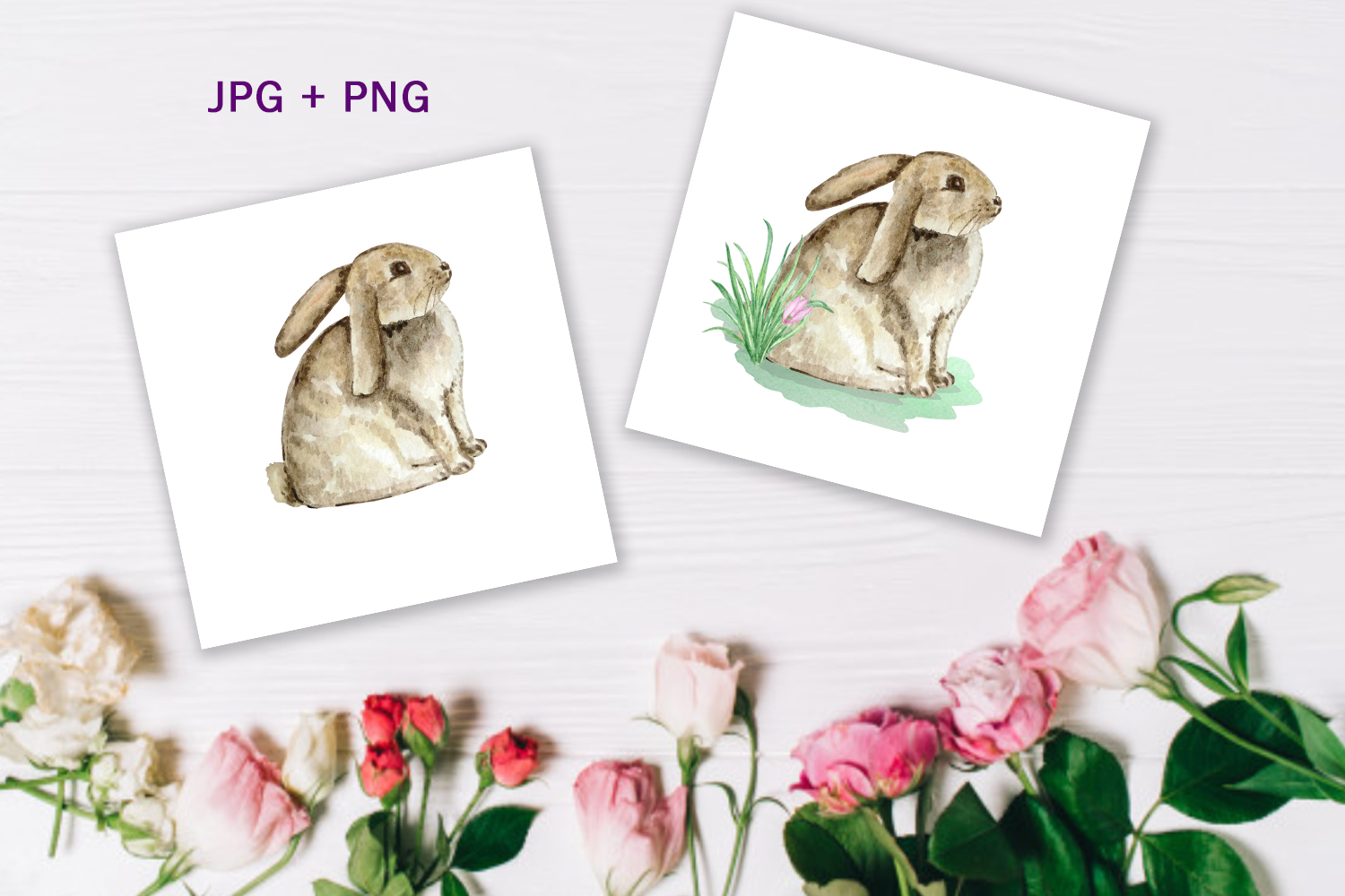 Watercolor Spring Rabbit Clipart Set example image 2