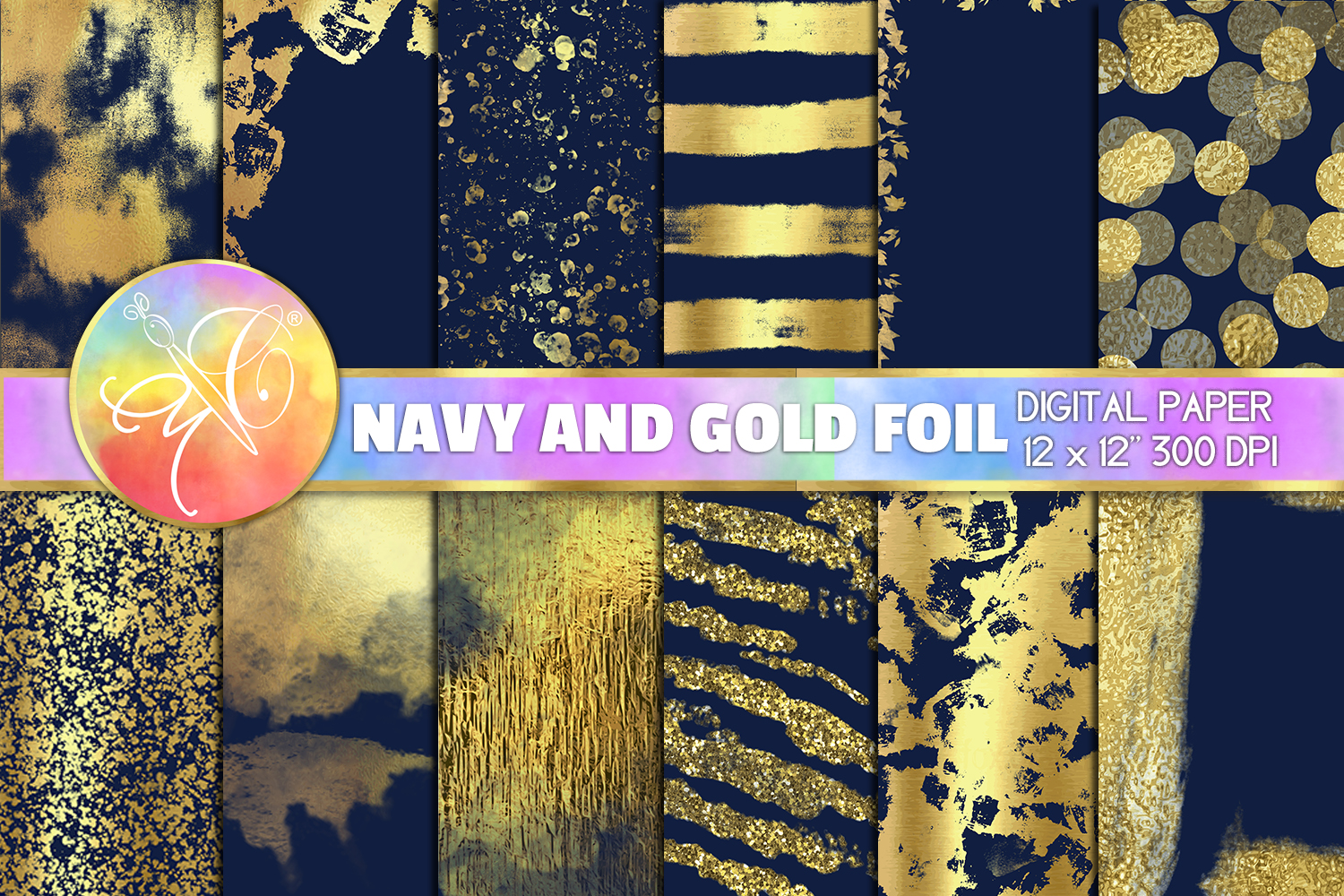 Navy and Gold Foil Digital Paper, Digital Background example image 1