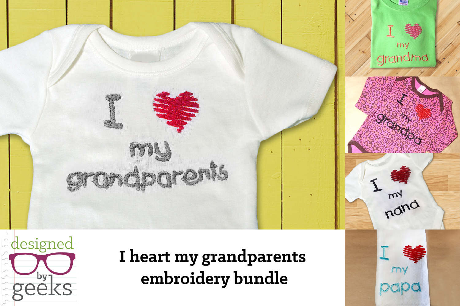 I Heart My Grandparents Embroidery Design Bundle example image 1