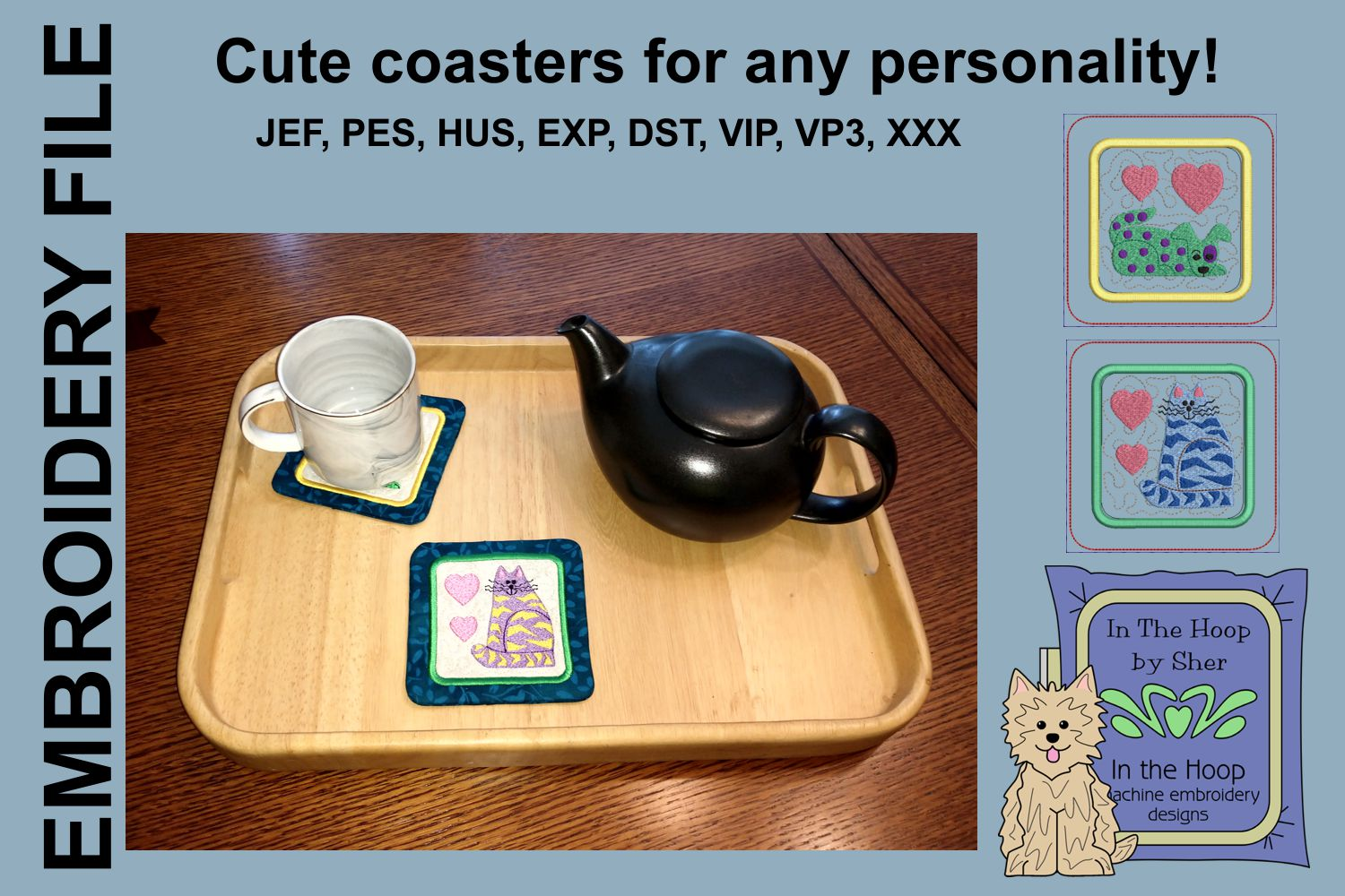 Funky Cat & Dog Coasters - 4 x 4 and 5 x 7 Hoops example image 2