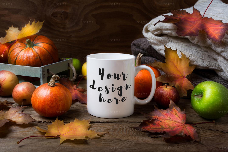 White coffee mug mockup with fall leaves, pumpkins example image 4