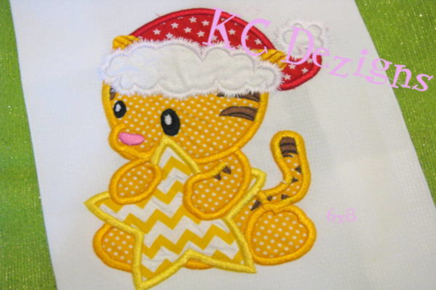 Christmas Baby Tiger Machine Applique Embroidery Design example image 2
