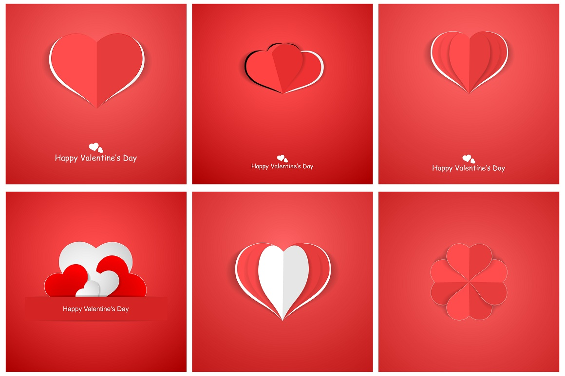 Red postcards with origami hearts. example image 1