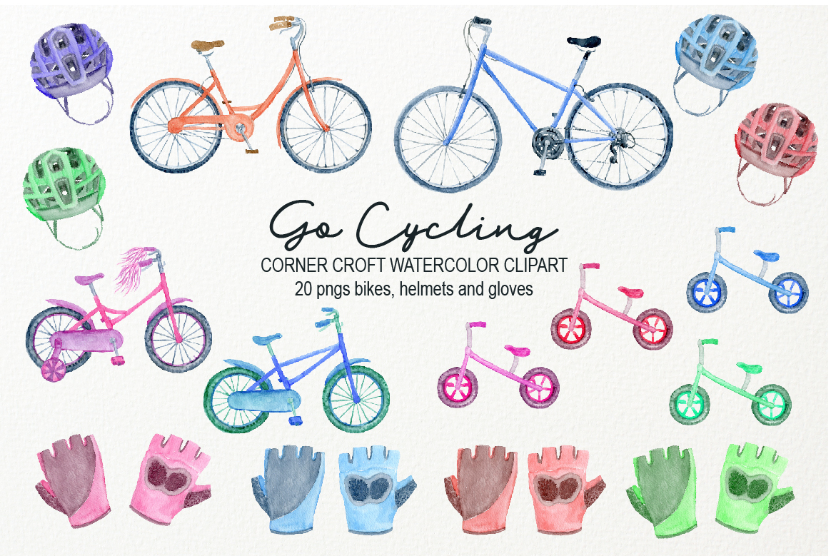 Watercolor Cycling Clipart example image 2