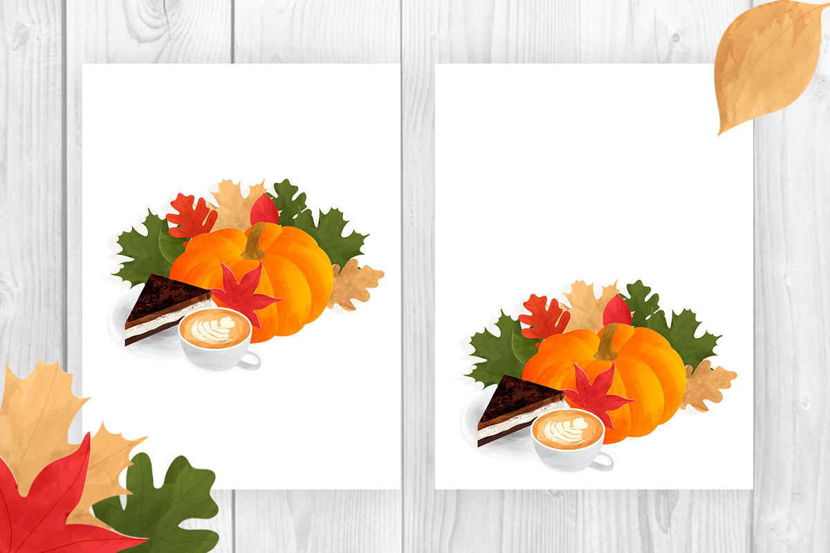 Autumn composition with pumpkin, leaves, coffee, cake example image 3