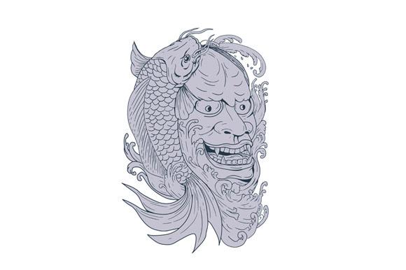 Hannya Mask and Koi Fish Drawing example image 1