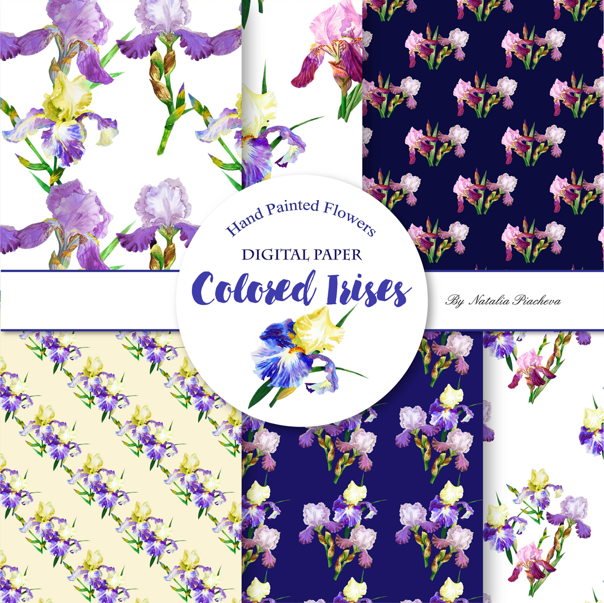 Digital Paper with Colored Irises example image 2