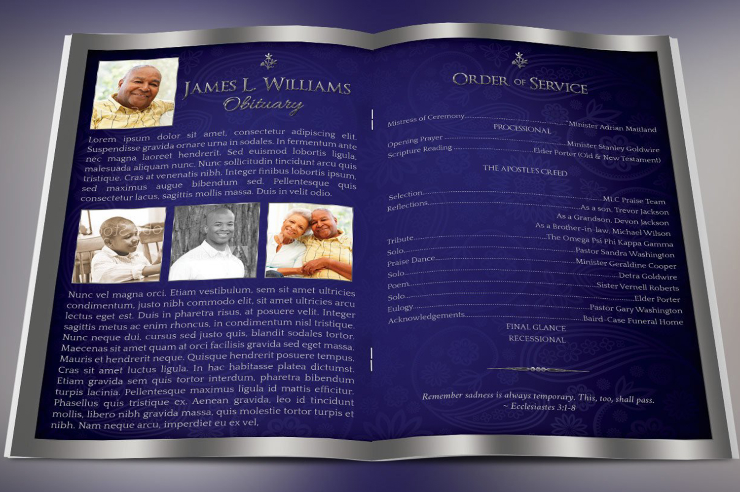 Dignity Funeral Program Template Bundle Publisher Word example image 5