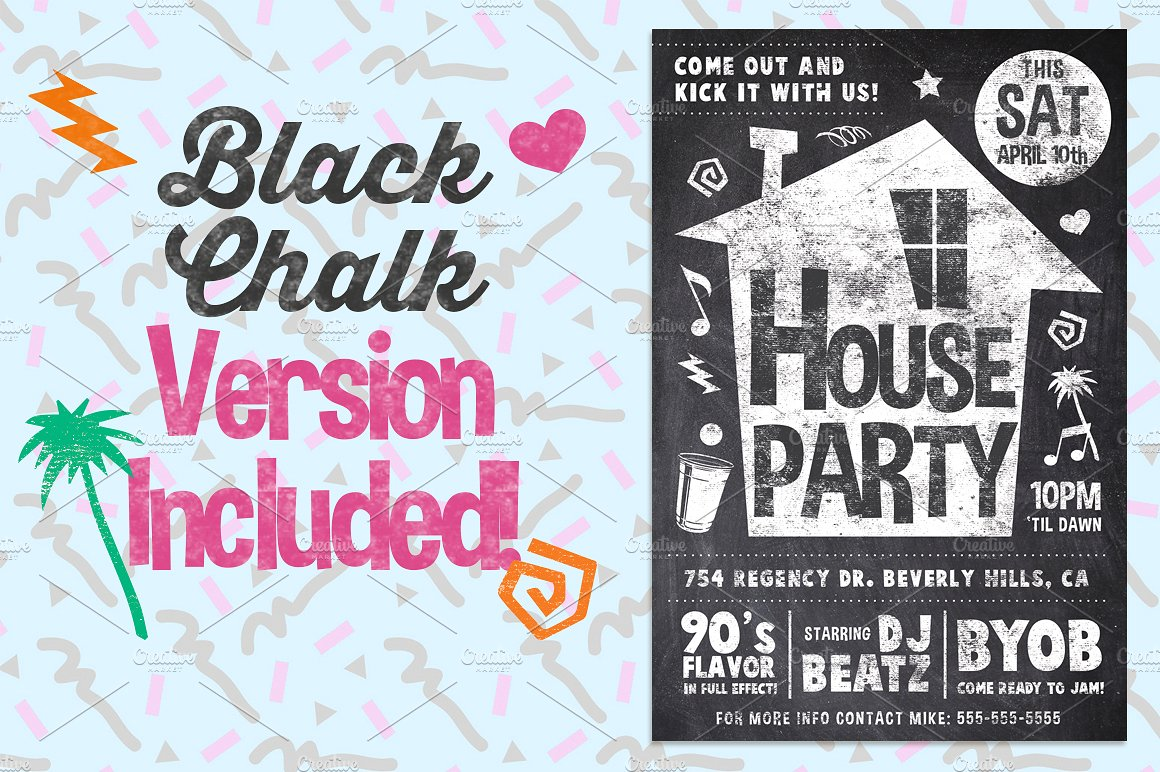 Chalk House Party 90's Retro Flyer Club College  example image 2