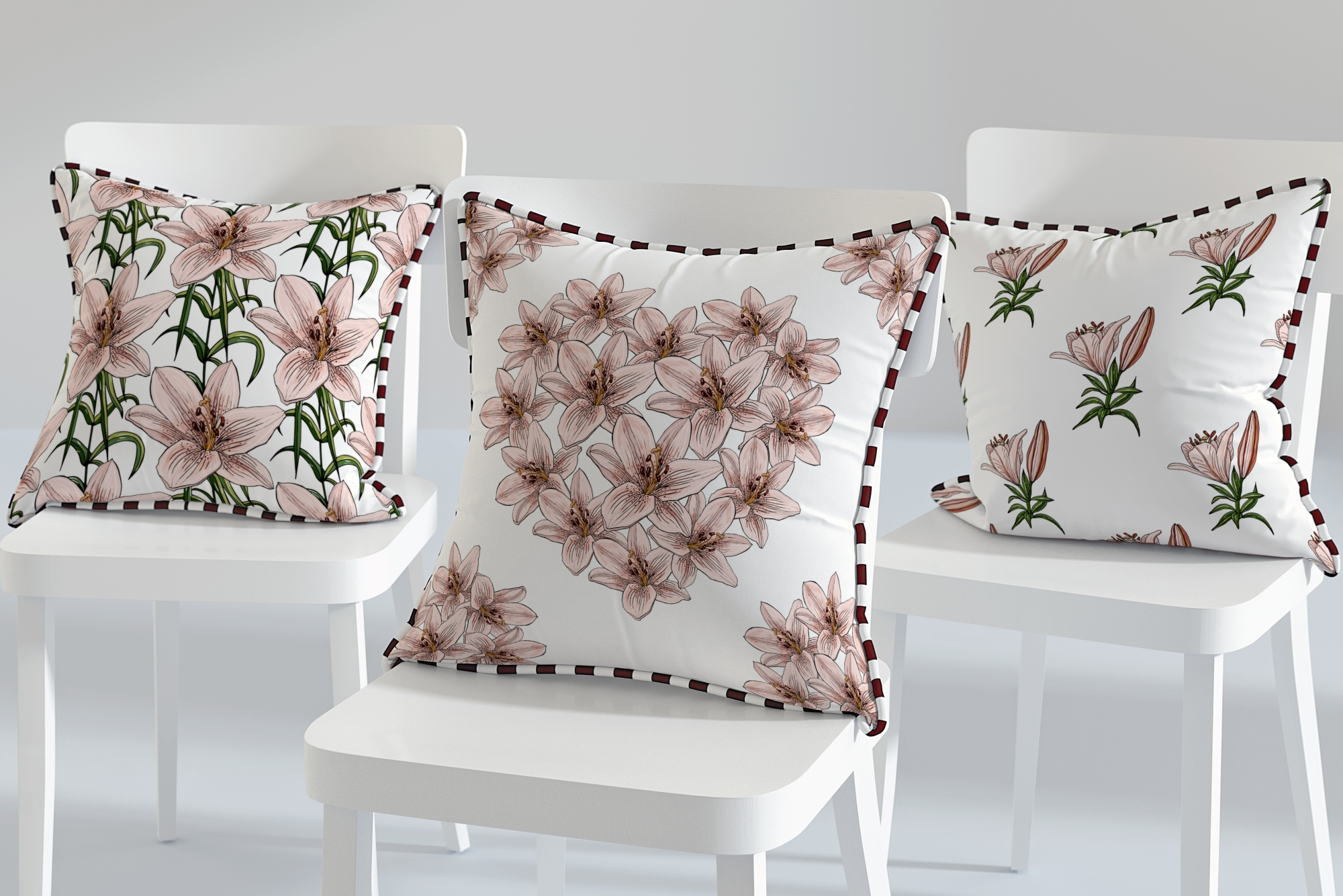Design with lily flowers. Seamless patterns and postcards. example image 3