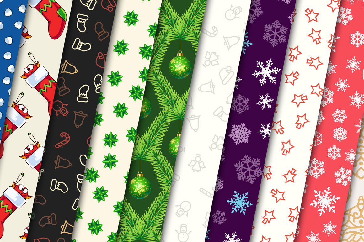 100 Christmas Seamless Patterns example image 6