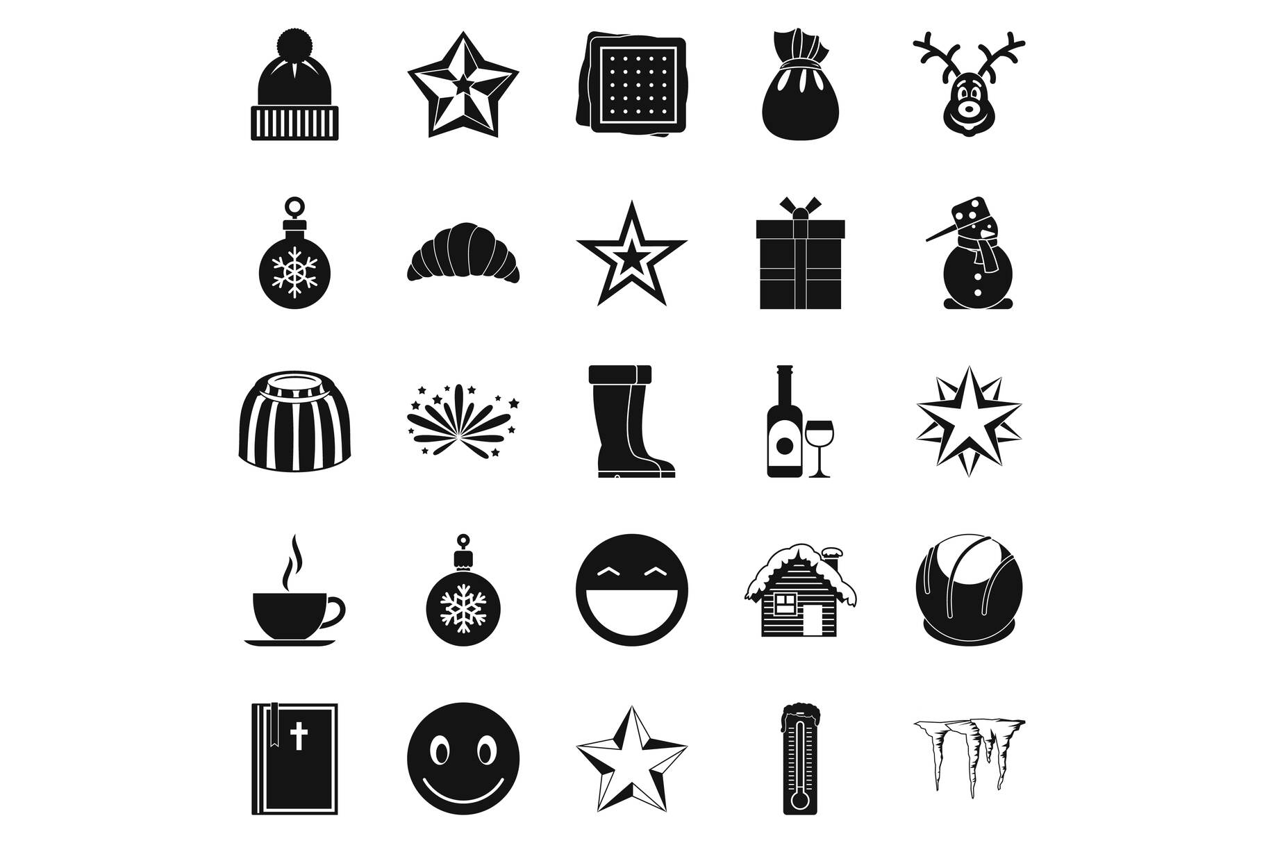 Christmas icons set, simple style example image 1