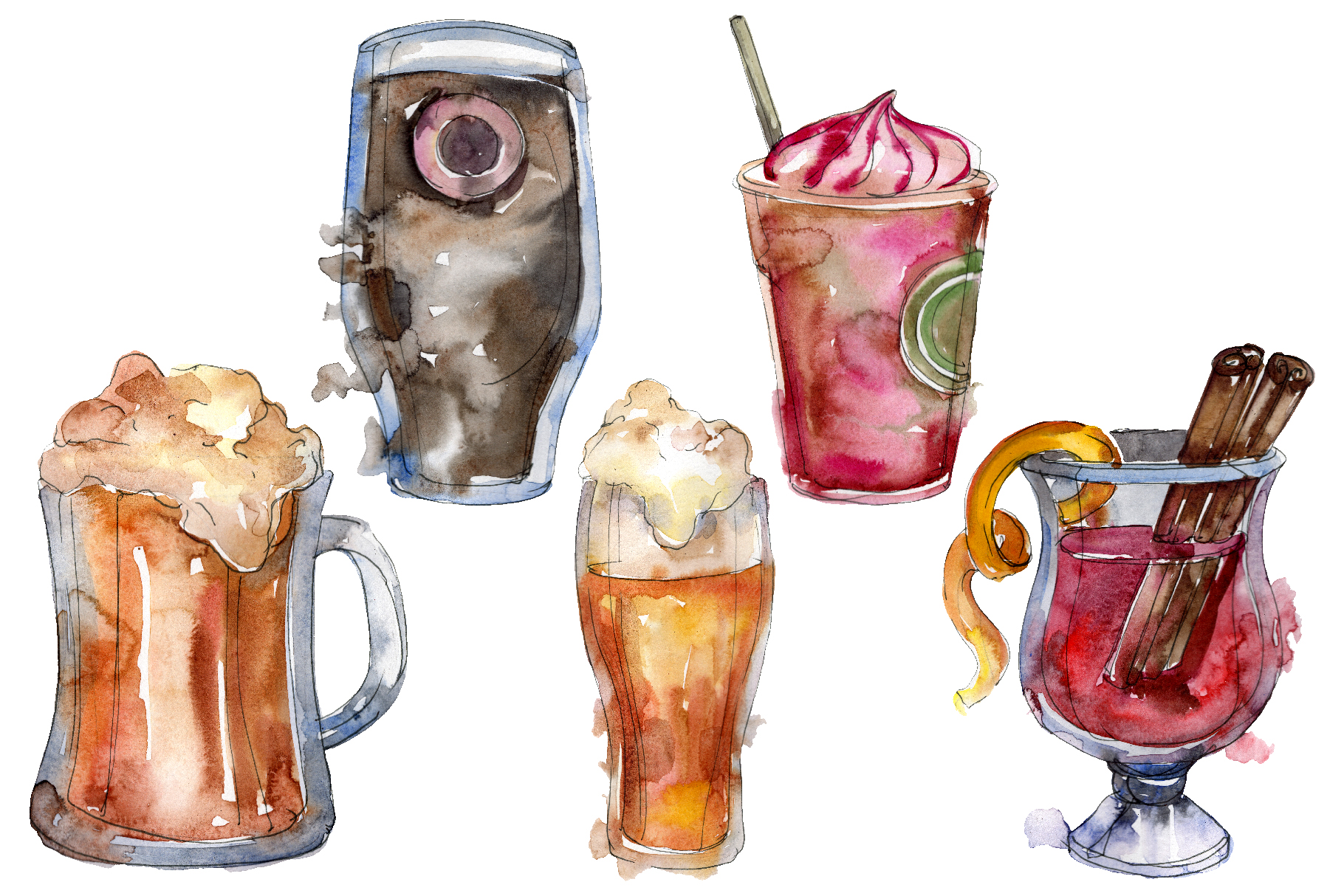Drinks for men Watercolor png example image 1