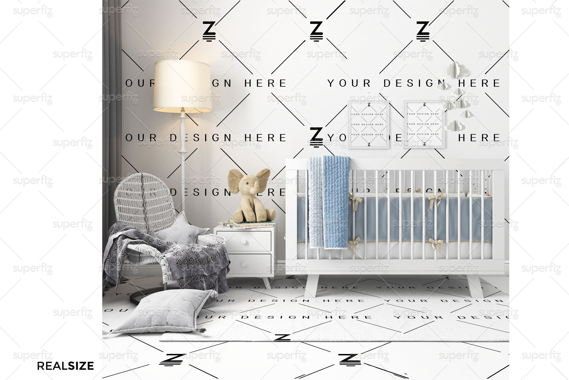 Wallpaper, floor, carpet and frame Mockup Baby Bedroom SM60 example image 3