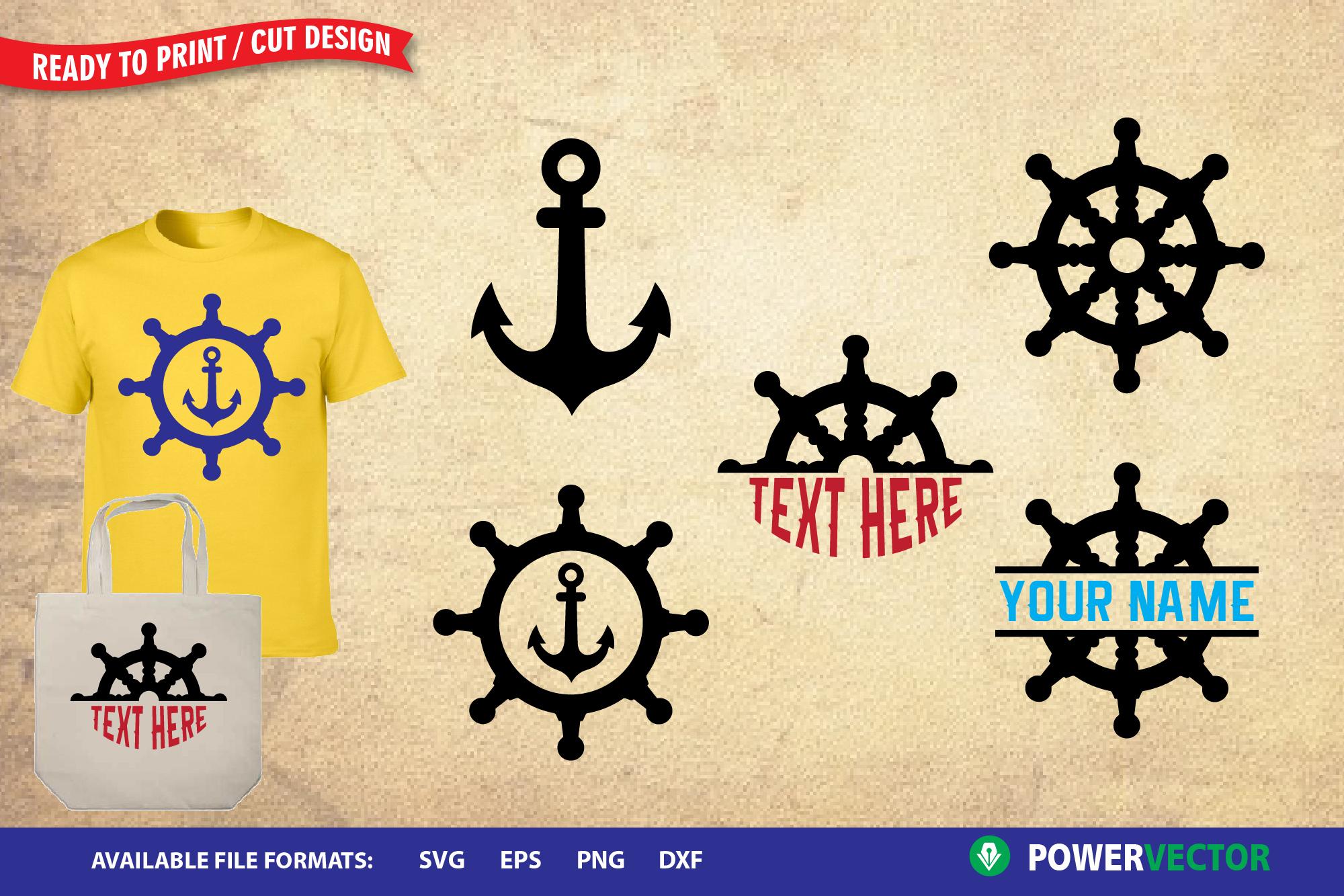 Anchor svg file, Ship wheel svg | Nautical Clip art example image 1