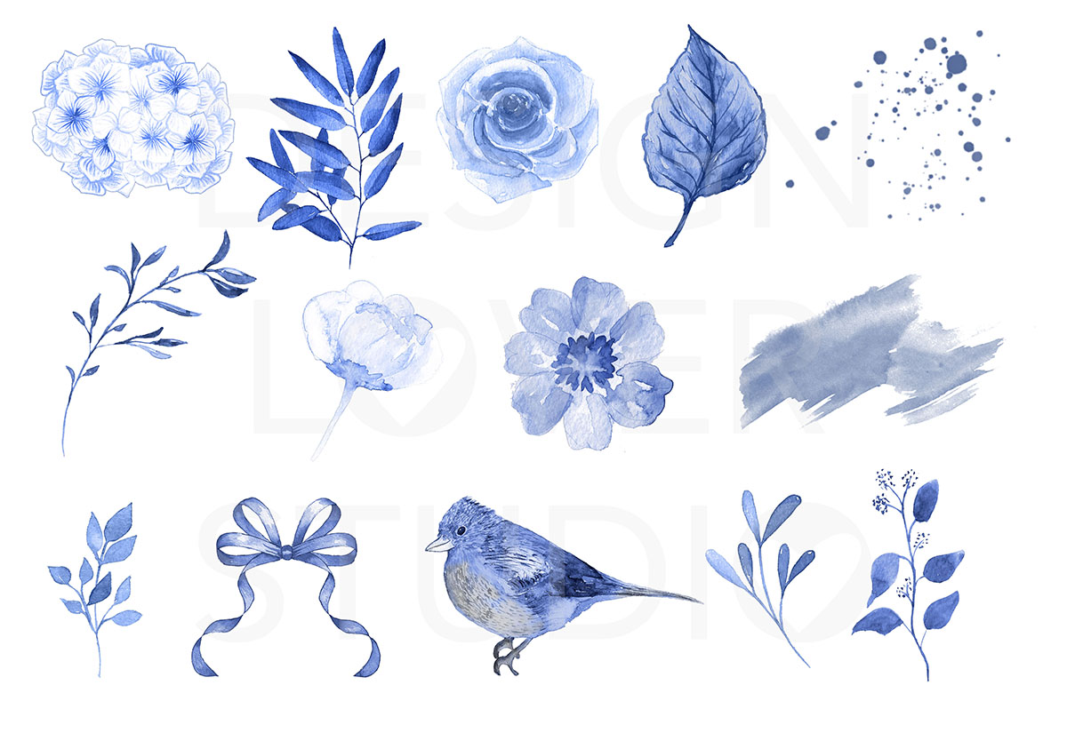 Watercolor BLUE FLOWERS design example image 3