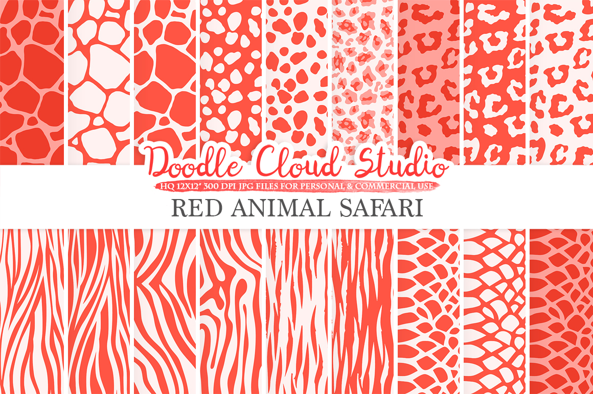 Red Animal Safari digital paper, Scarlet Fur pattern Giraffe Zebra Leopard Snake Tiger background Instant Download Personal & Commercial Use example image 2