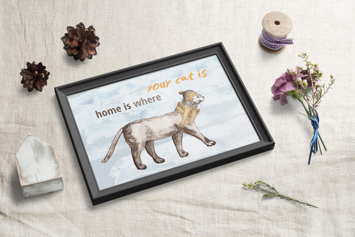 Warm Winter Kitties - watercolor example image 3