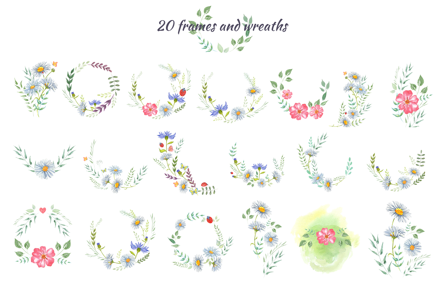 Wildflowers and herbs gentle watercolor collection example image 8