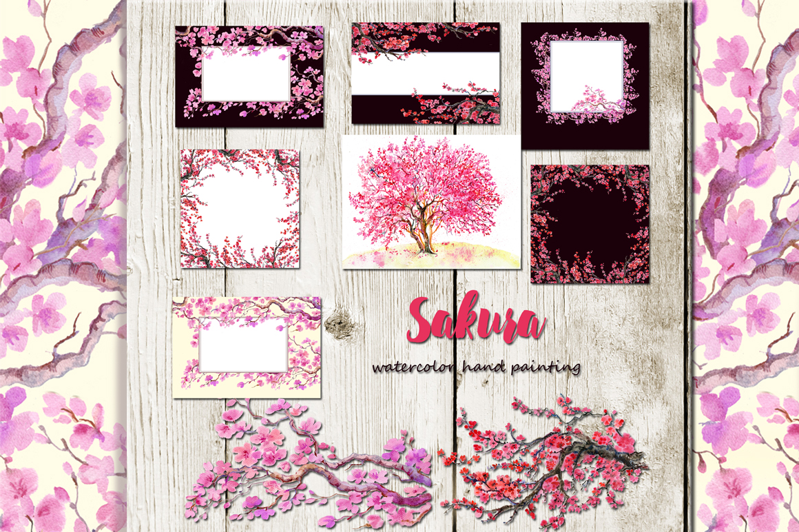 Sakura flowers, clipart,watercolor example image 2