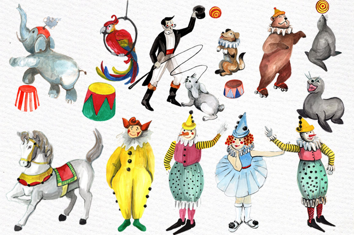 Watercolor circus clipart example image 3