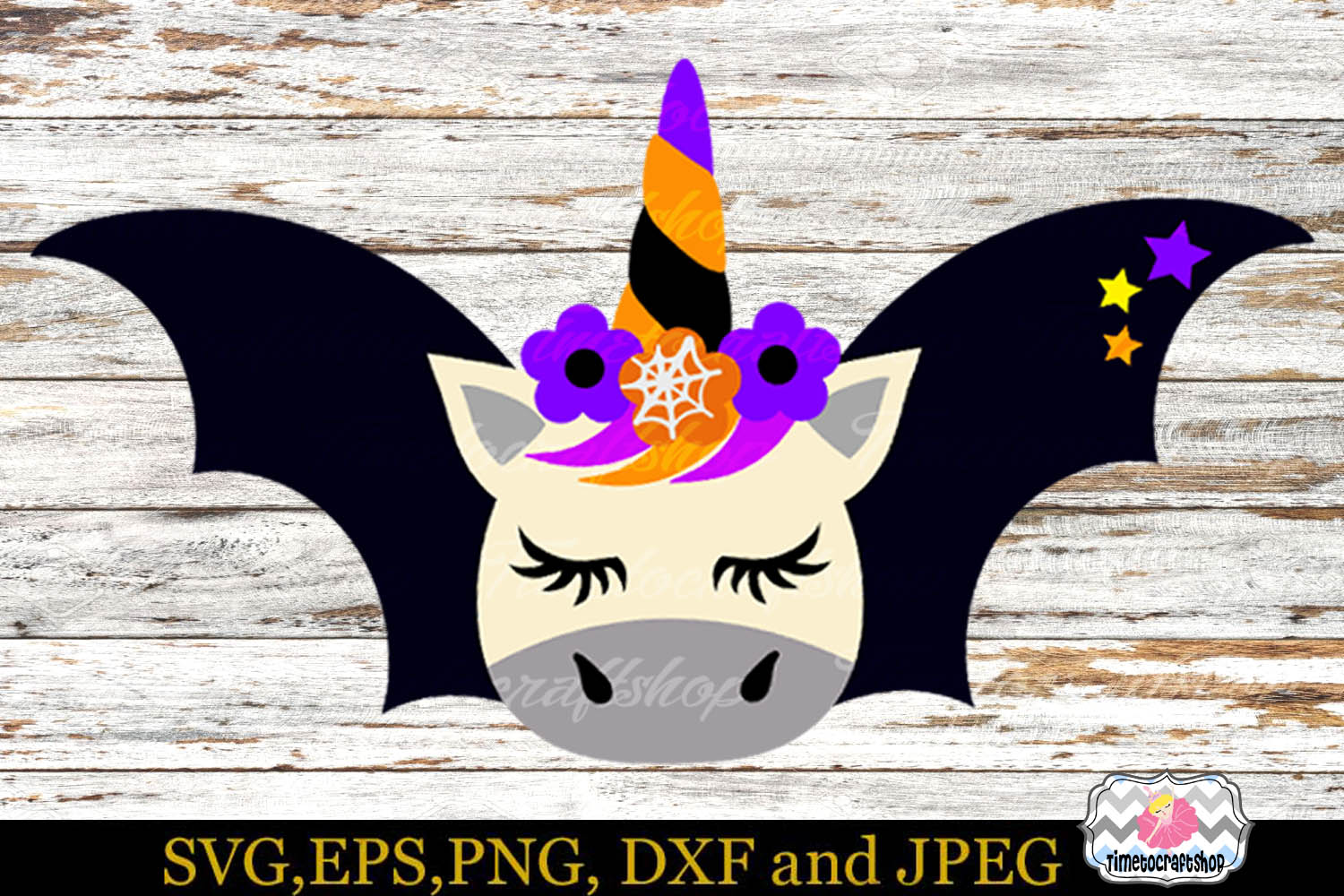 SVG, Eps, Dxf & Png Files For Halloween Unicorn Bundle example image 3