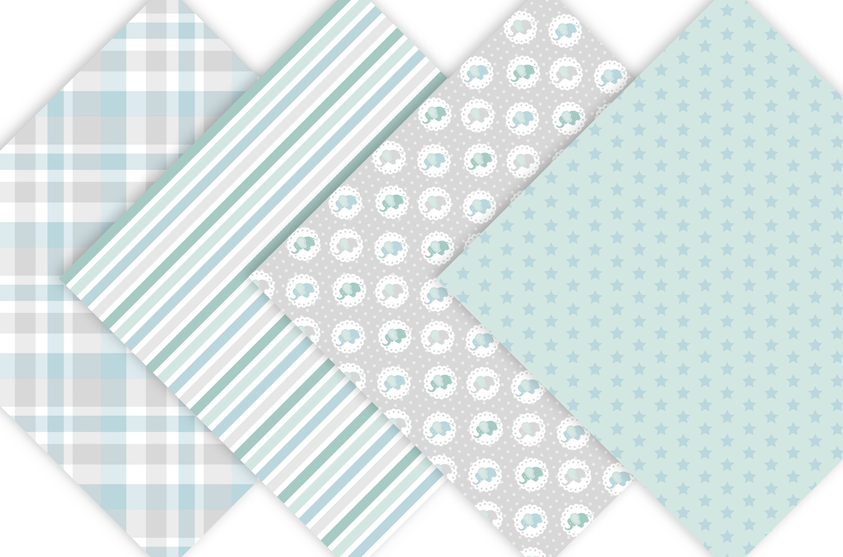 Baby Elephant Digital Paper Patterns - Green example image 3