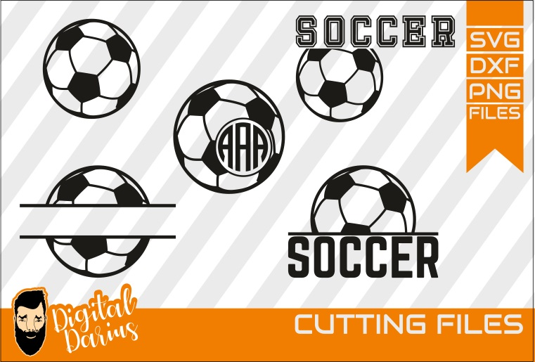 5x Soccer SVG, Sport svg, Cuttable, Digital, Hobby, Monogram example image 1