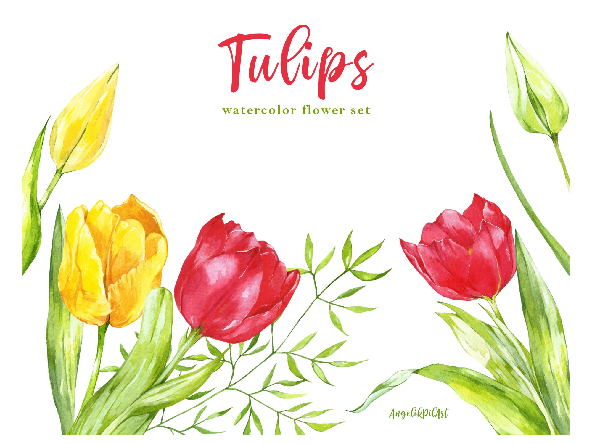 Watercolor hand- painted clipart. red ,yellow tulips, example image 4