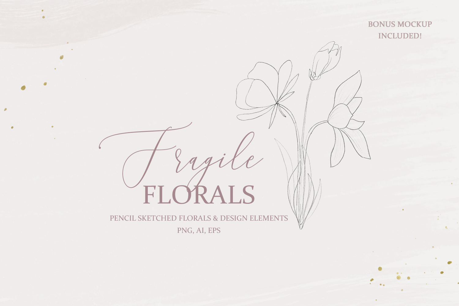 Fine Art Pencil Sketch Florals, Gold Brush Strokes, Textures example image 1
