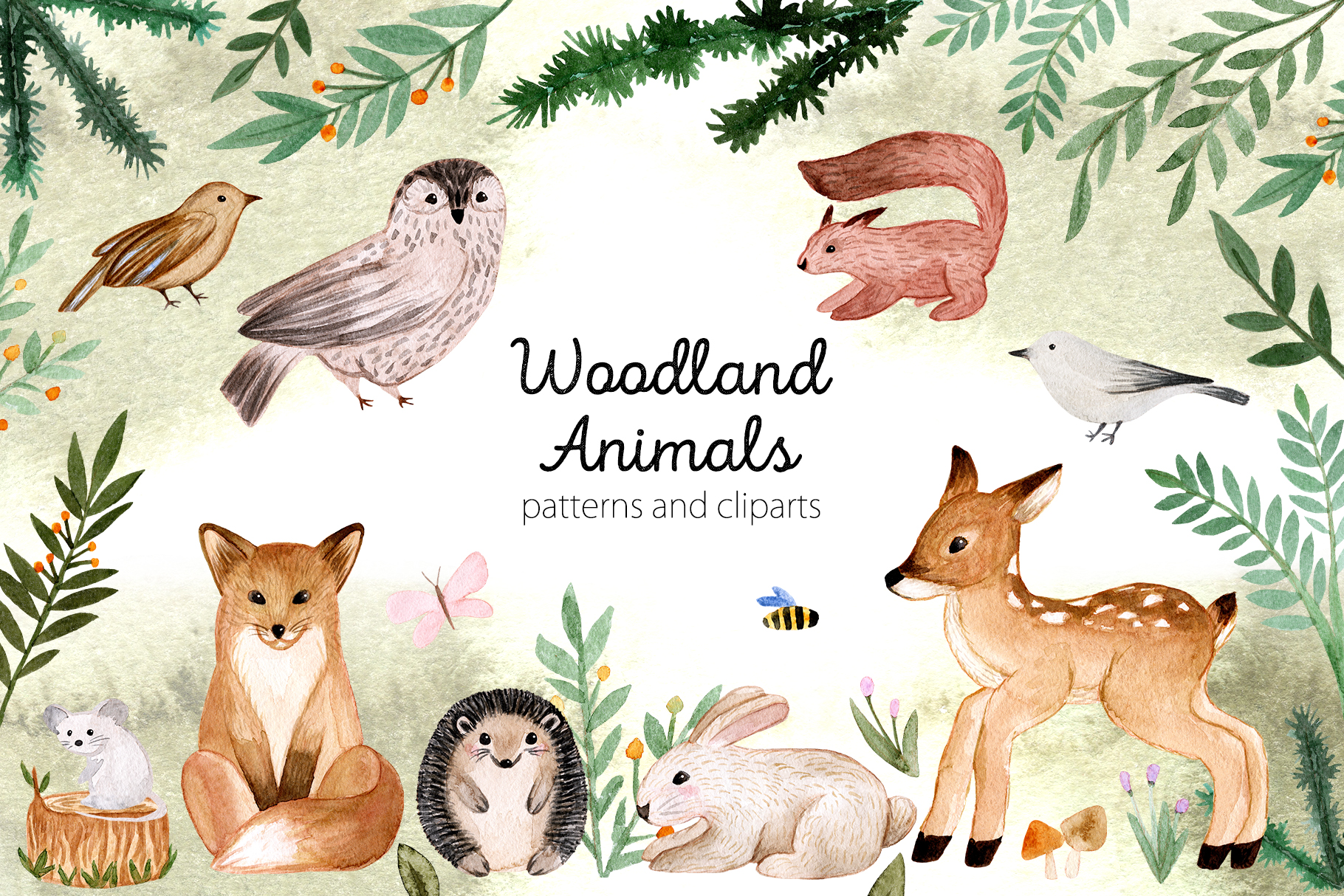 Woodland Animals. Patterns, Cliparts example image 1