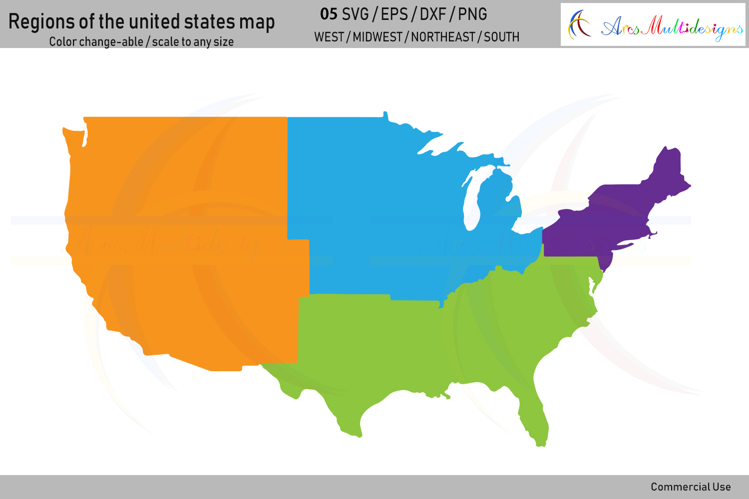 Regions of the united states map vector / united states map example image 2
