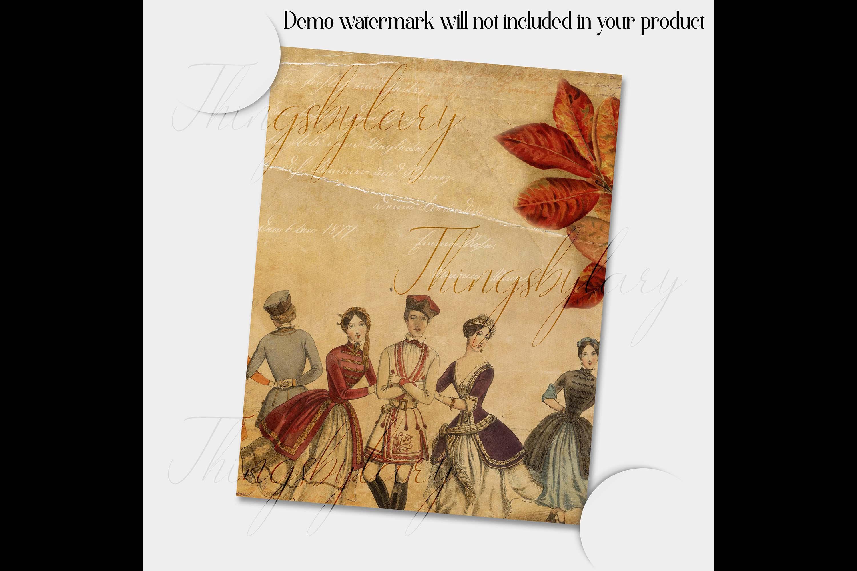 "16 Antique Ephemera Dancing Ballerina Digital Papers 8.5x11"" example image 3"