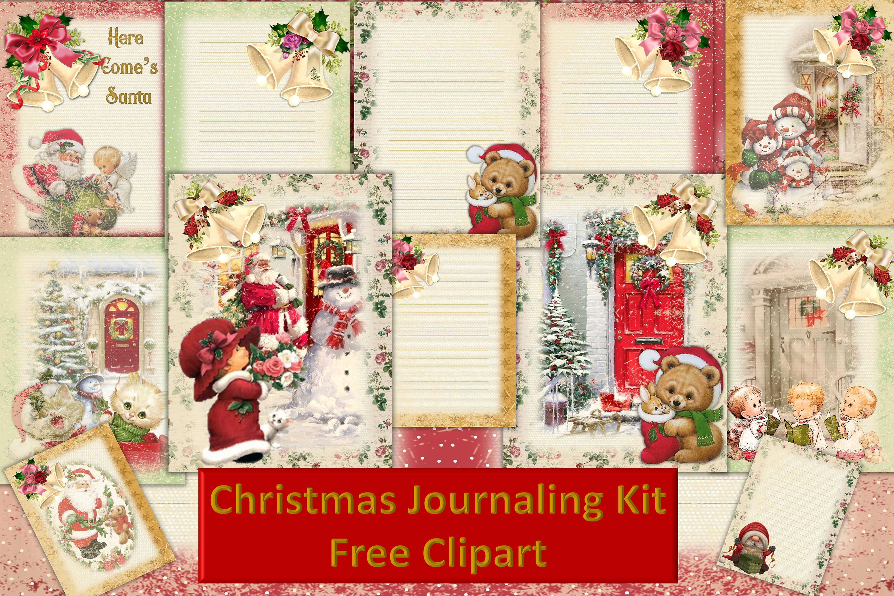 Christmas Fireside Journaling Kit CU with Free clipart example image 1