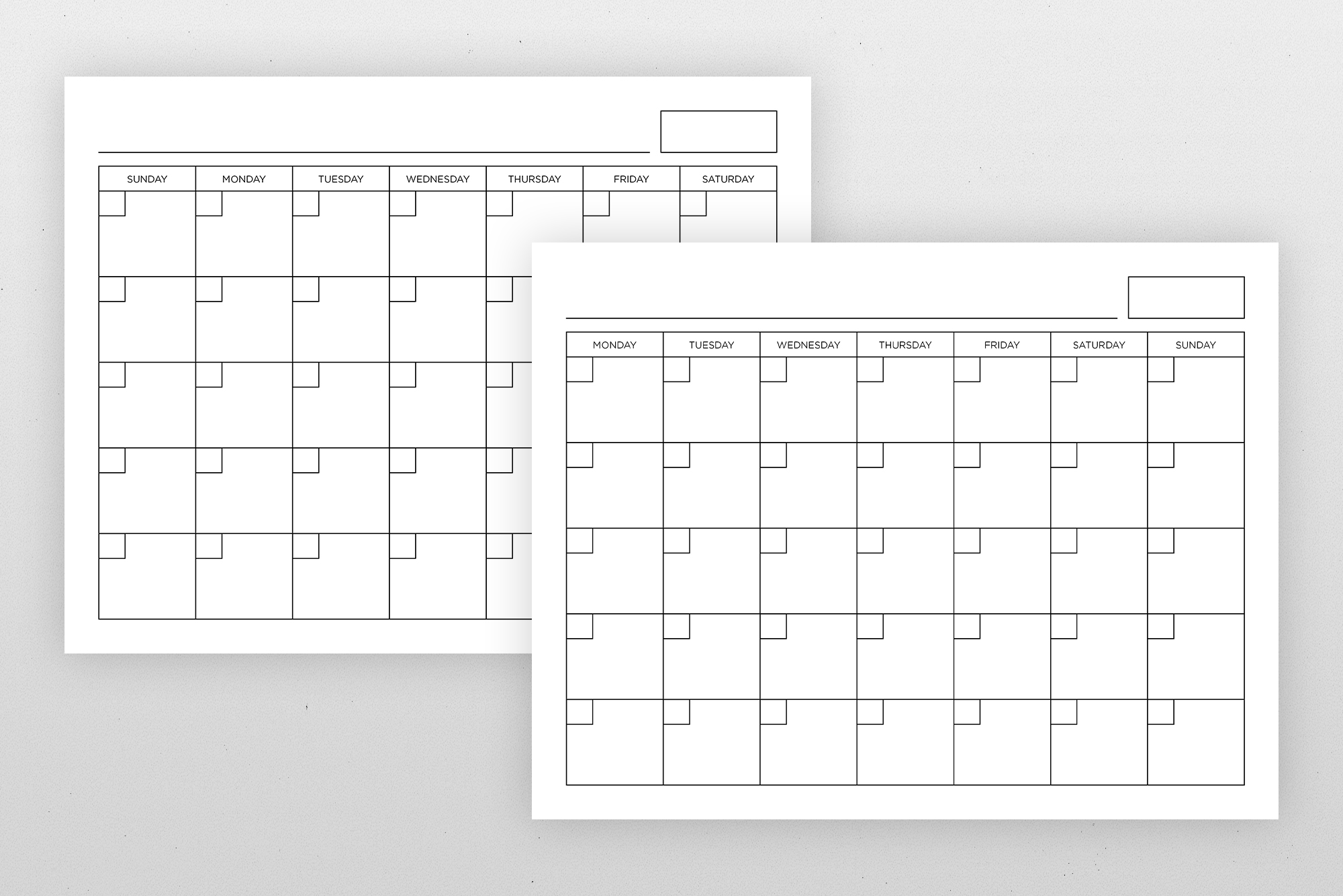 Blank Calendar Page Template Set example image 9