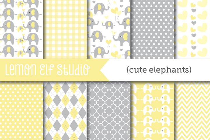 Cute Elephants-Digital Paper (LES.DP10C) example image 1