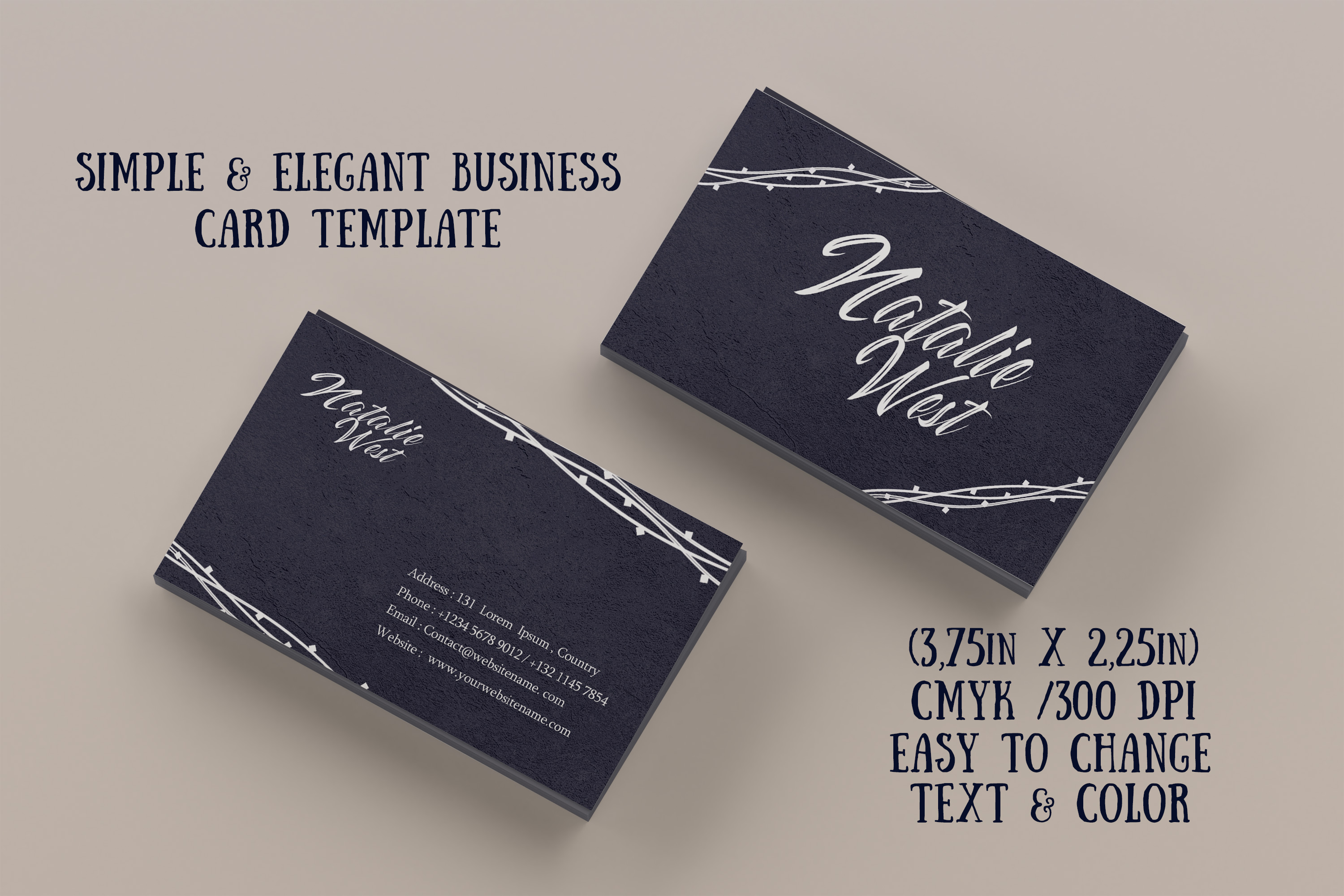 Elegant business card template example image 1