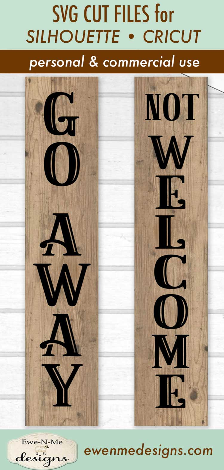 Sarcastic Not Welcome - Go Away - Porch Sign - SVG DXF Files example image 3