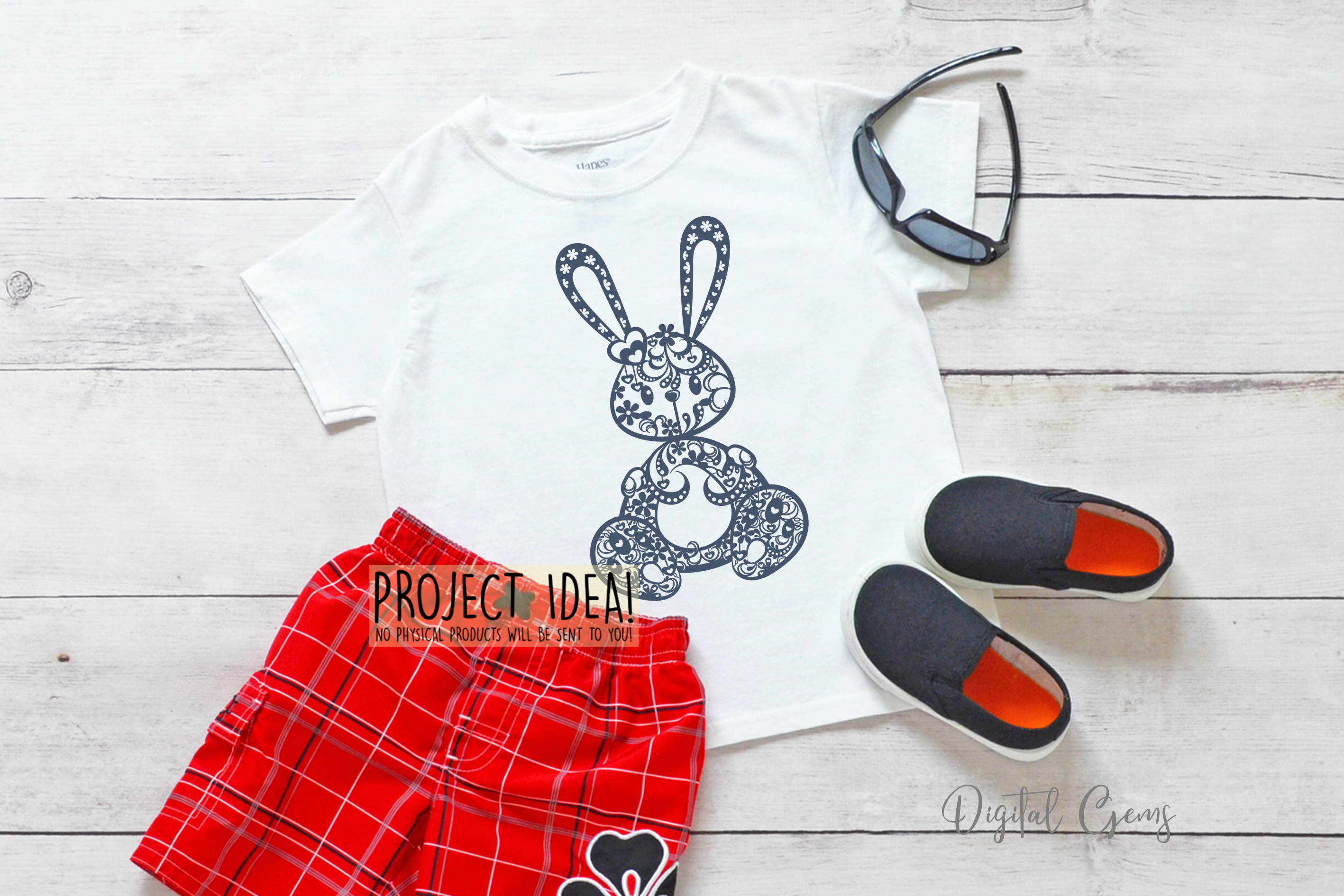 Rabbit paper cut design. SVG / DXF / EPS / PNG files example image 5