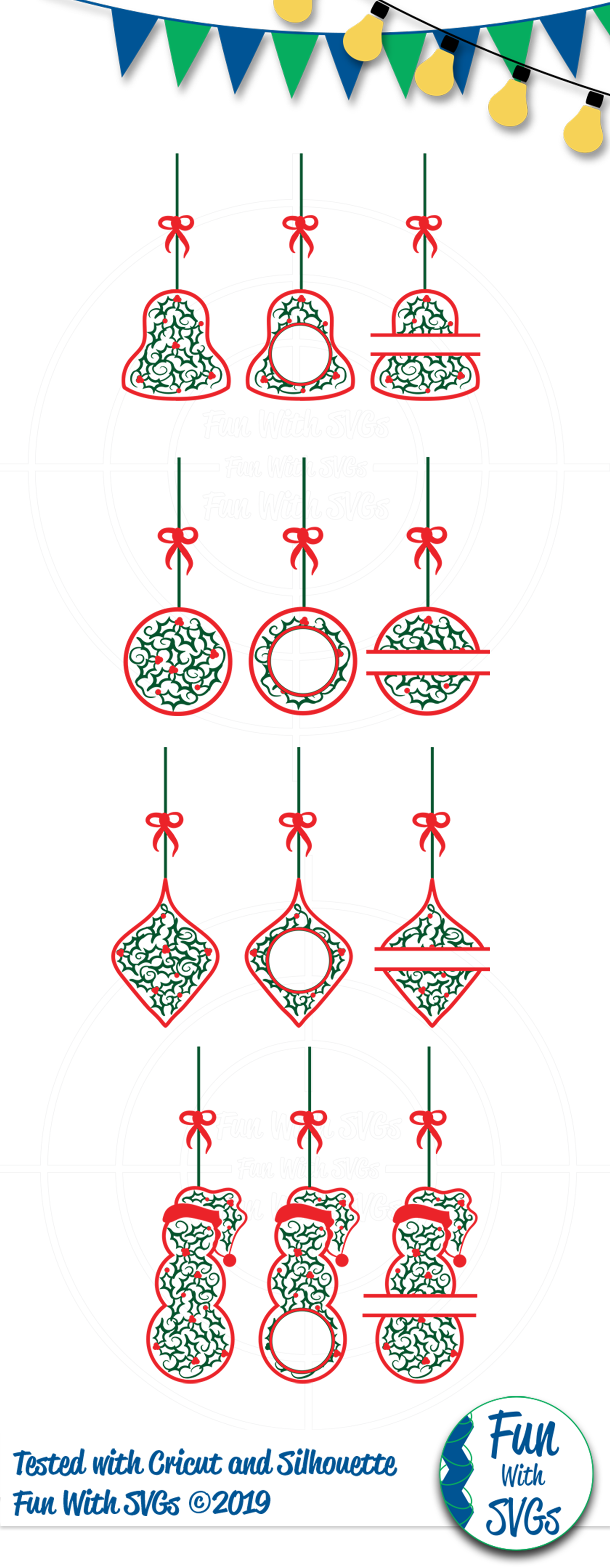 SVG Christmas Holly Ornaments, Cut File, Clip Art FWS468 example image 2