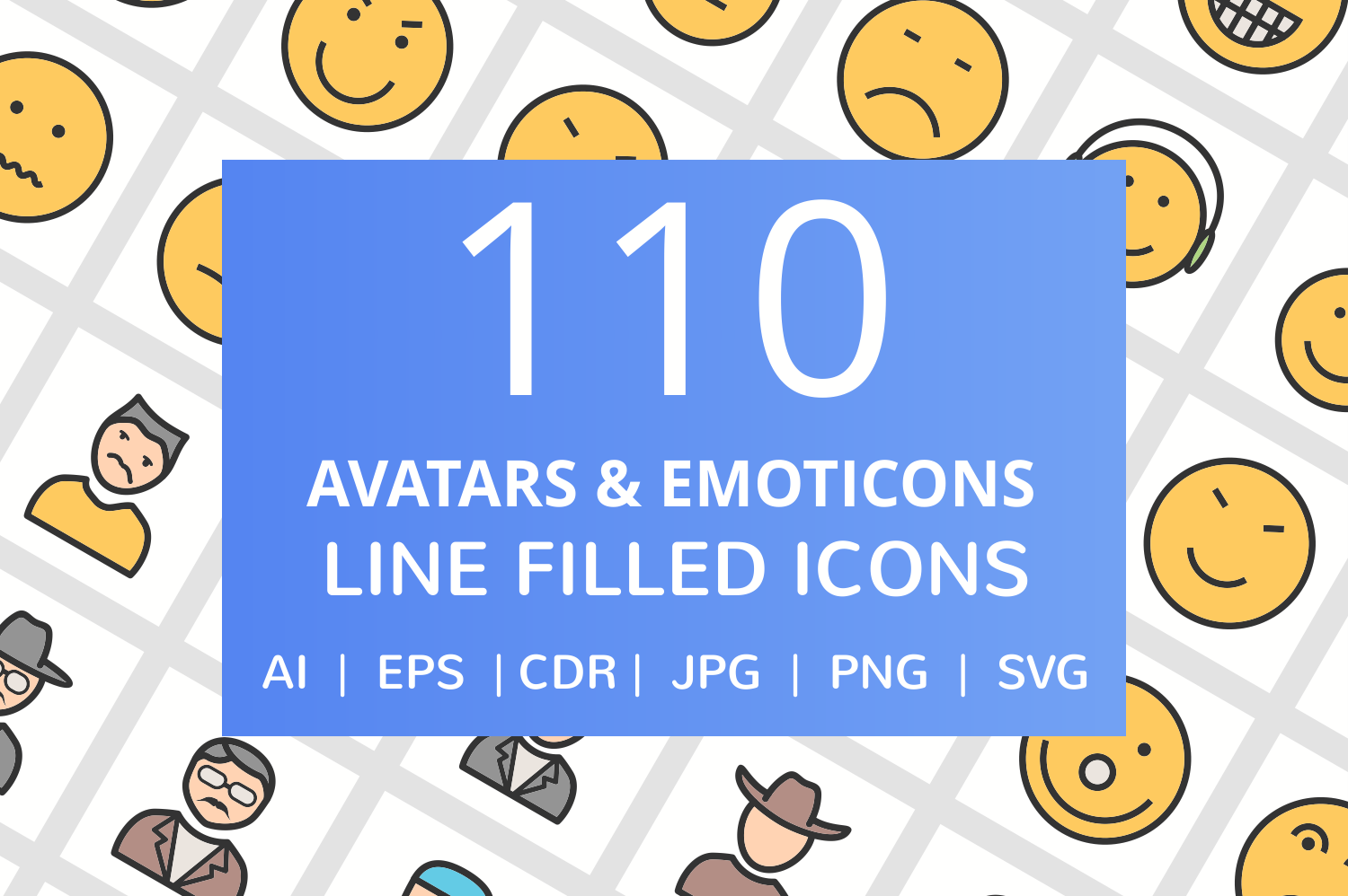 110 Avatars & Emoticons Filled Line Icons example image 1