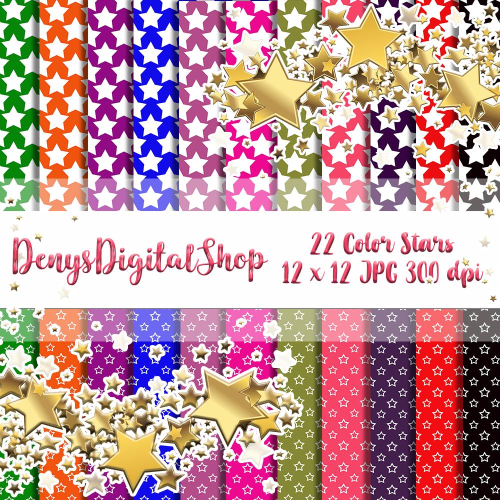 Color Stars, Digital Scrapbook Paper, Stars Patterned,SALE example image 7