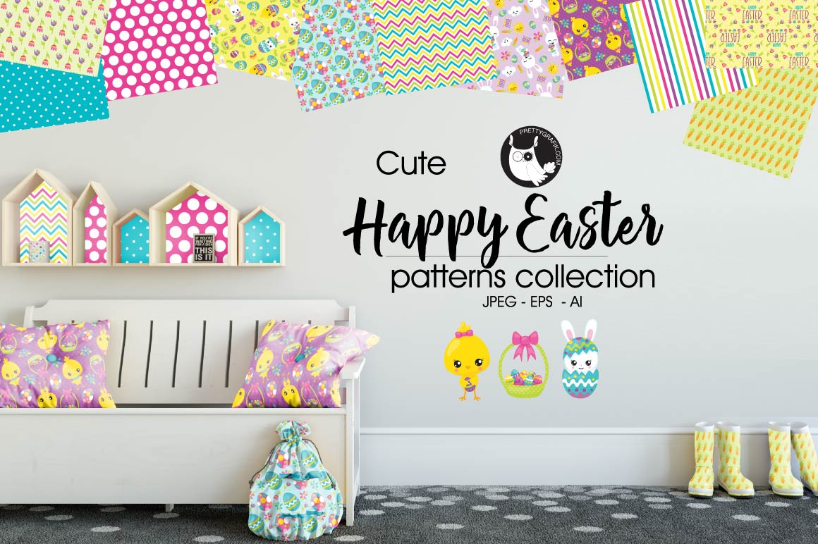 HAPPY-EASTER, digital papers example image 1