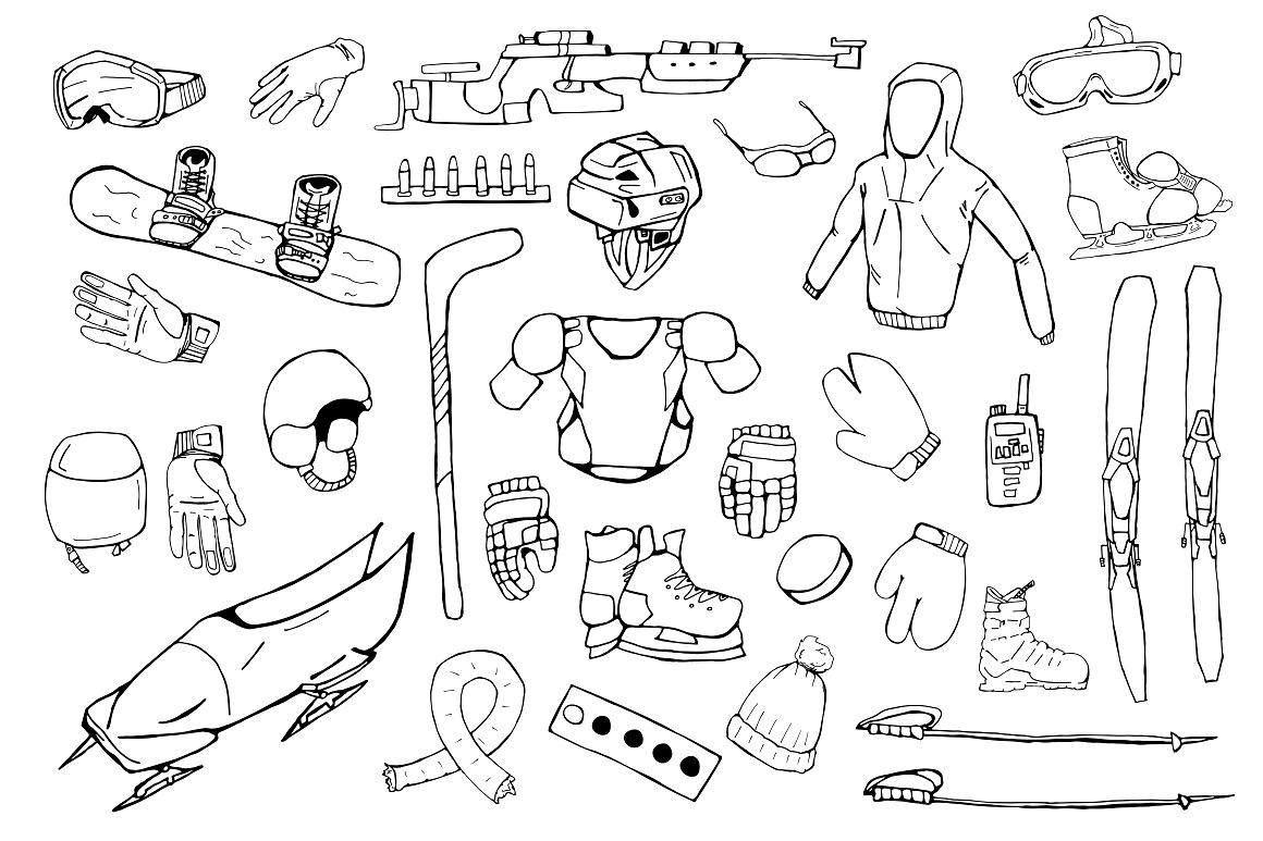 Hand drawn winter sports equipment example image 7