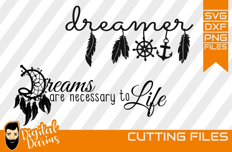 2x Dreamcatcher svg, Feather svg, Dreamer svg, Dreams, Life example image 1