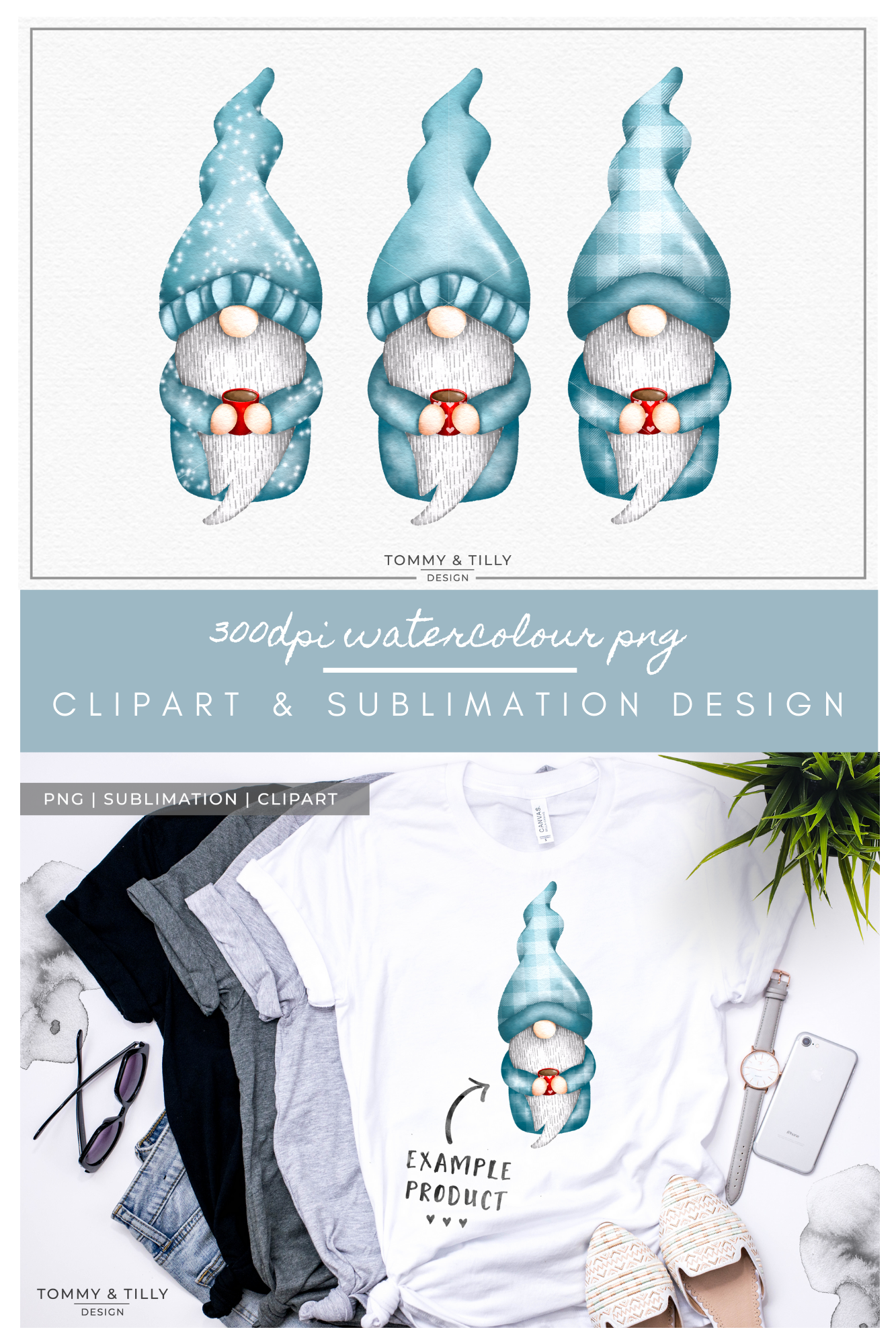 Watercolour Gnomes x 3 - Sublimation PNG Clipart example image 3