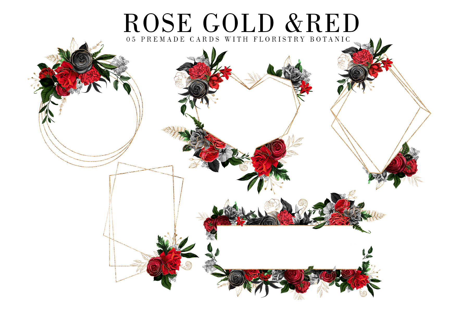 Red Flowers and Gold| Roses vintage and gold example image 6