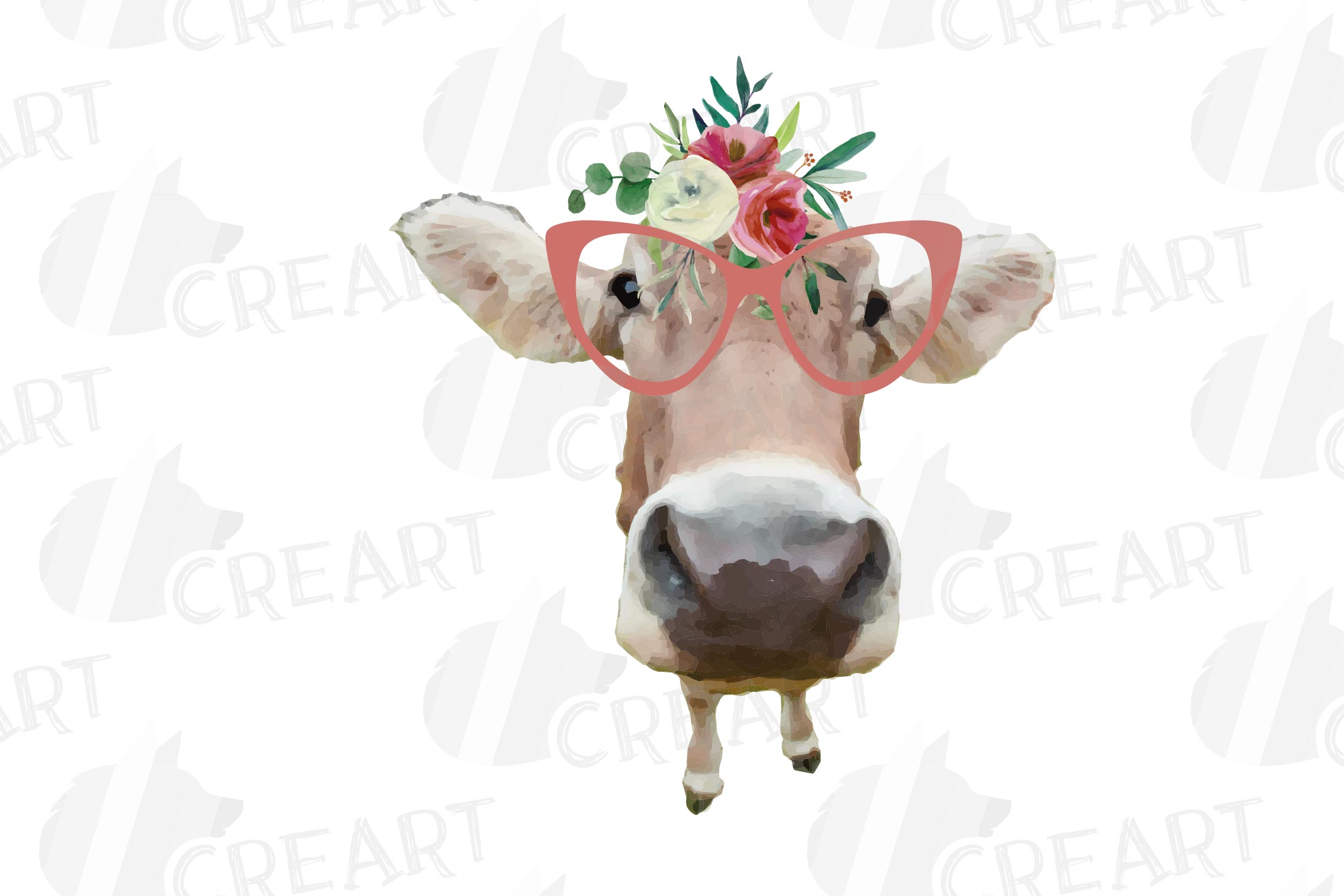 Not today Heifer printable shirt, mug, card floral cow png example image 20