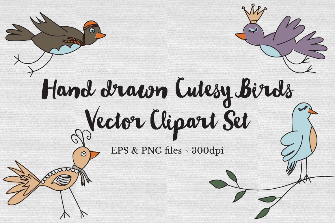 Hand drawn cutesy birds Vector set example image 1